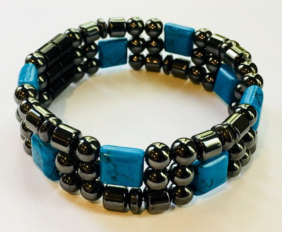 Magnetic Hematite Therapy Bracelet, Turquoise Bracelet, High Power Magnetic