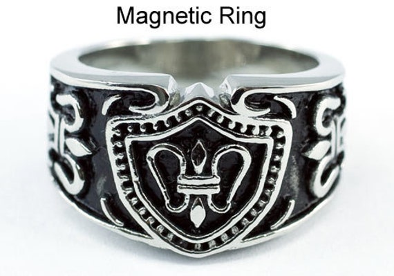 Vintage Gothic Cross Design Magnetic Therapy Stainless Steel Mens Ring