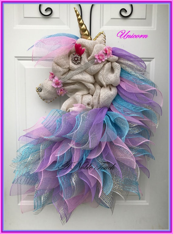 Made To Order Unicorn Wreath Whimsical Fairy Tale Kids Etsy