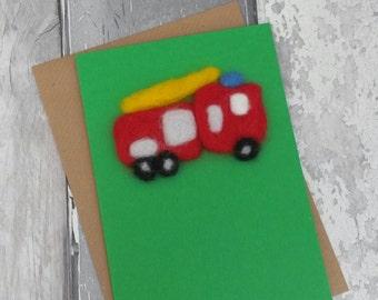 Fire engine card, fireman, needle felt fire engine, bright fun card
