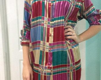 vintage plaid blouse - oversized