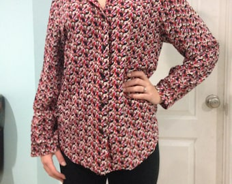 vintage butterfly print blouse - hand tailored