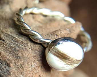 Sterling silver 925 Sizes J-R any colour. Handmade memorial pet ashes or human hair ring