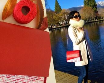 Handmade bag/Shoulder bag/Boho bag/Purse/Recycled single use plastic bag/Red and white bag