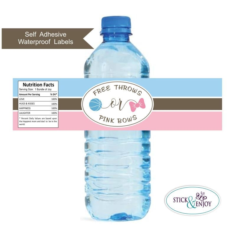 Gender Reveal Free Throws Or Pink Bows Water Bottle Labels