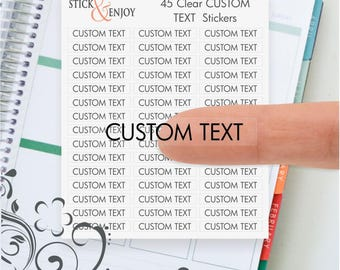 45 Clear Custom Text Planner Header Stickers, Clear Planner Stikers, Erin Condren Life Planner Stickers.