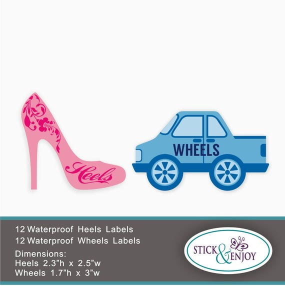 24 Gender Reveal Party Stickers Heels Or Wheels Stickers