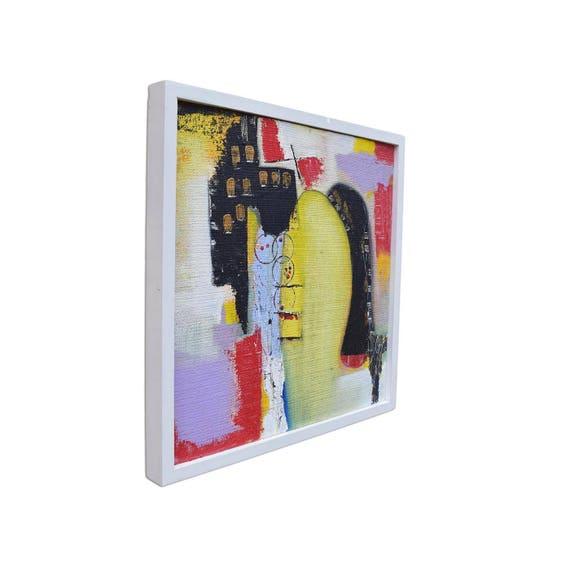 Abstract Art Fine Art Hessian Art Framed Painting Framed | Etsy