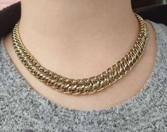 8k Gold French Style Thick Gold Chain Necklace