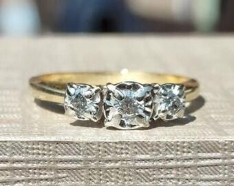 Vintage Trilogy Round Diamond Ring 10k yellow gold size 6 1/2