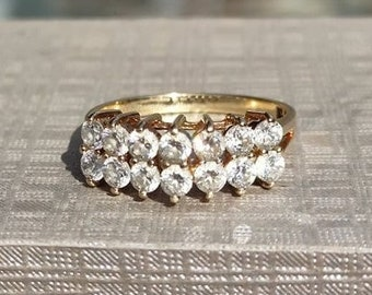 Cubic Zirconia Double Row Ring 14k yellow gold size 6