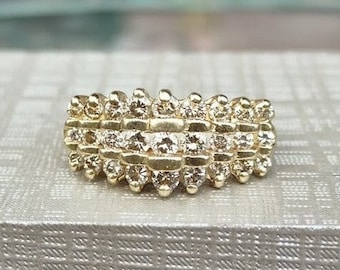 1 Carat Vintage 3 Row Round Champagne Diamond Cluster 10k yellow gold size 7