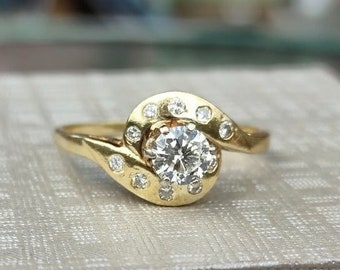 1/2 Carat French Belle Round Diamond Engagement Ring 14k yellow gold size 9