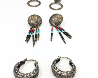 3 Pair of Vintage Sterling Silver Earrings