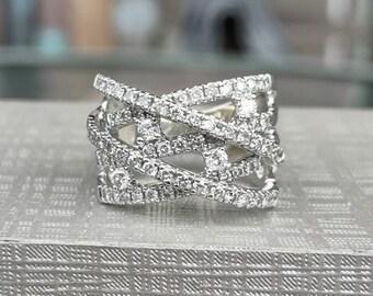 Wide Wave Round Diamond Ring 14k white gold size 5 1/2