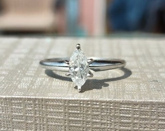 1/2 Carat Marquise Diamond Solitaire Engagement Ring 14k white gold size 6 1/4