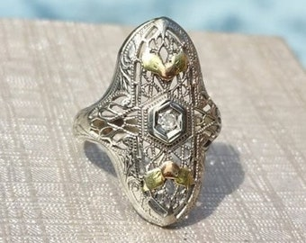 Vintage Art Deco Diamond Ring with Holly Berry Design 14k white gold size 4