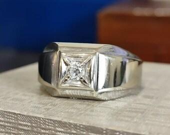 Men's Round Diamond Wide Ring 14k white gold size 11