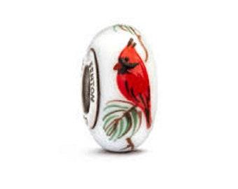 "Fenton Glass Bead ""Cardinal on Pine"""