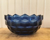 Vintage blue glass bowl c...