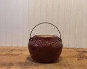 Vintage Brown Bean Pot w/...