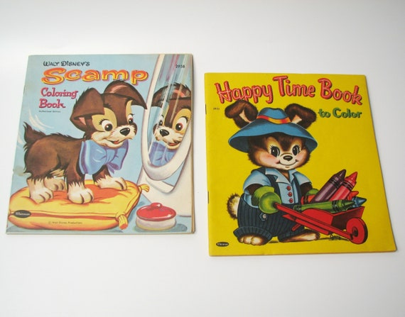 Vintage Whitman Coloring Books Walt Disney's Scamp And Happy Time Book To Color
