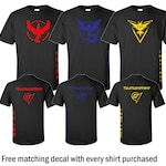 Team Valor/Mystic/Instinct Black T-Shirt - Red/Blue/Yellow Vinyl with CUSTOM gamer tag/name (Includes free 4x4 Decal)