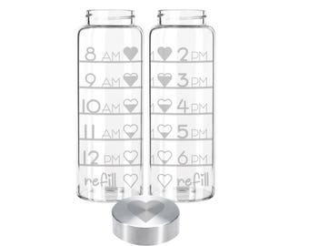Etched 33oz Large Glass Bottle - Time Tracker with Hearts & Custom Lid