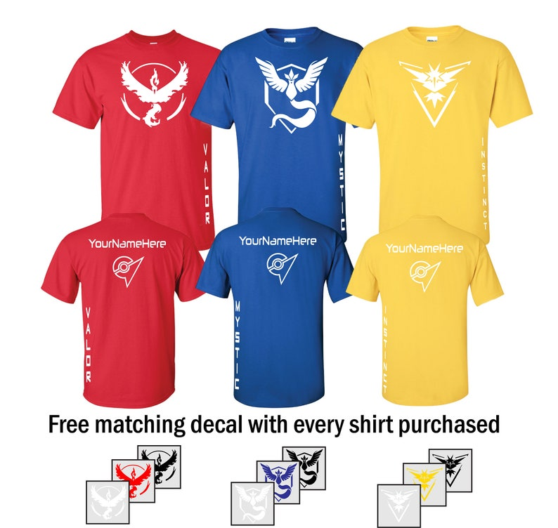 Team Valor/Mystic/Instinct T-Shirt  Red/Blue/Yellow White image 0