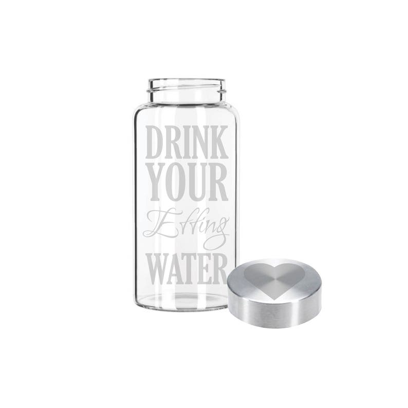 Etched 22oz Small Glass Bottle  Drink Your Effing Water & image 0