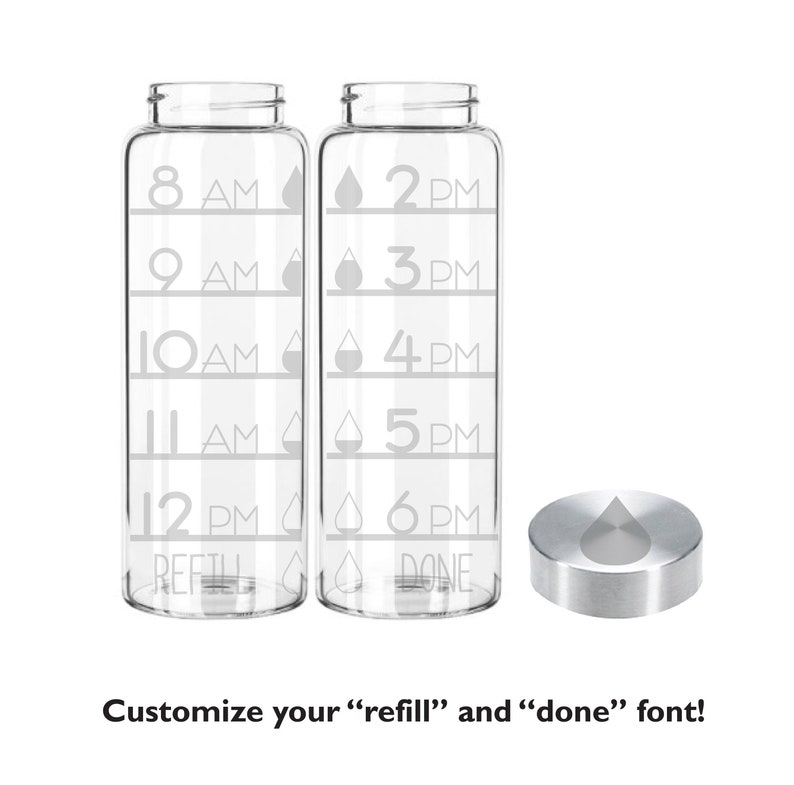 Etched 33oz Time Tracker Water Drops  Large Glass Bottle Time Tracker Only