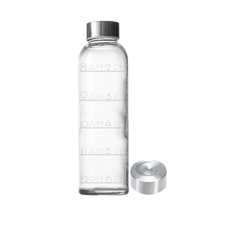 Etched 18oz Water Tracker Small Glass Bottle Time Tracker