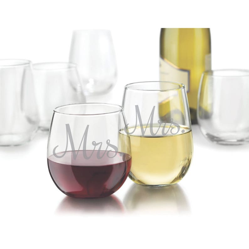 Two 17oz Etched Red or White Stemless Wine Glasses  Mrs. & image 0
