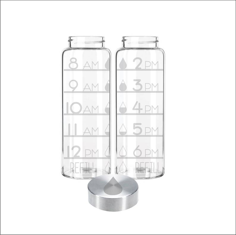 Etched 33oz Large Glass Bottle  Time Tracker with Water Drops image 0