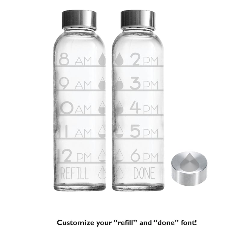 Etched 18oz Water Drops Tracker  Small Glass Bottle Time Tracker Only