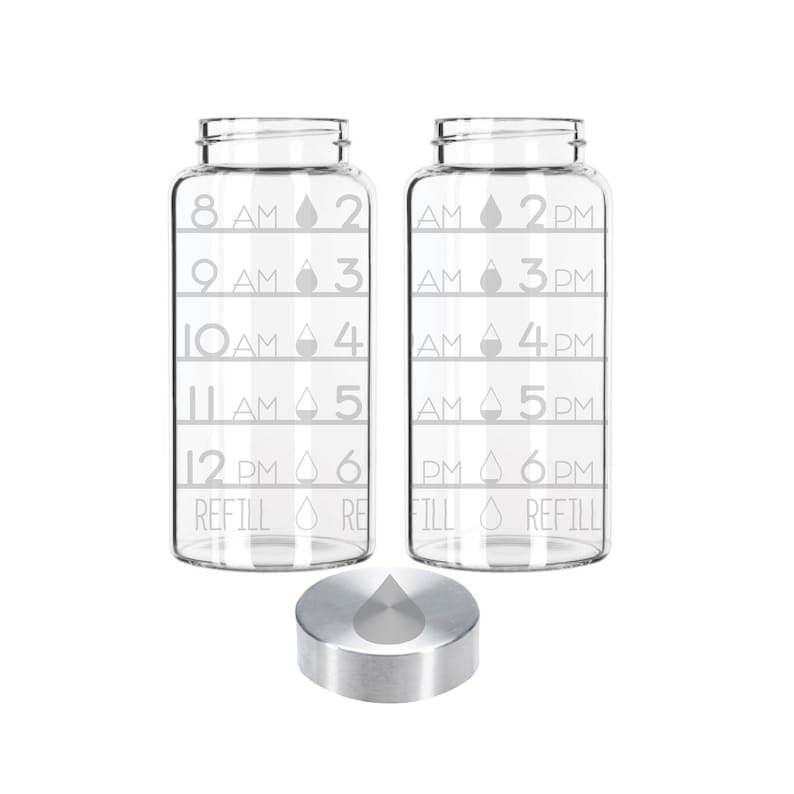 Etched 22oz Small Glass Bottle  Time Tracker with Water Drops image 0
