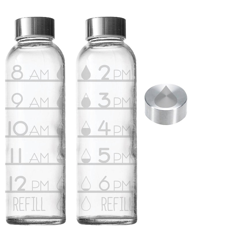 Etched Water Tracker 18oz Small Glass Bottle Water Drops image 0
