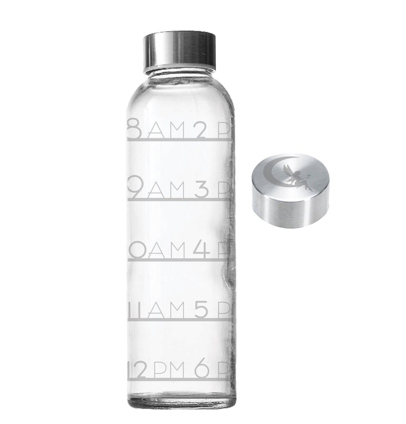 Etched Water Tracker 18oz Small Glass Bottle Time Tracker image 0