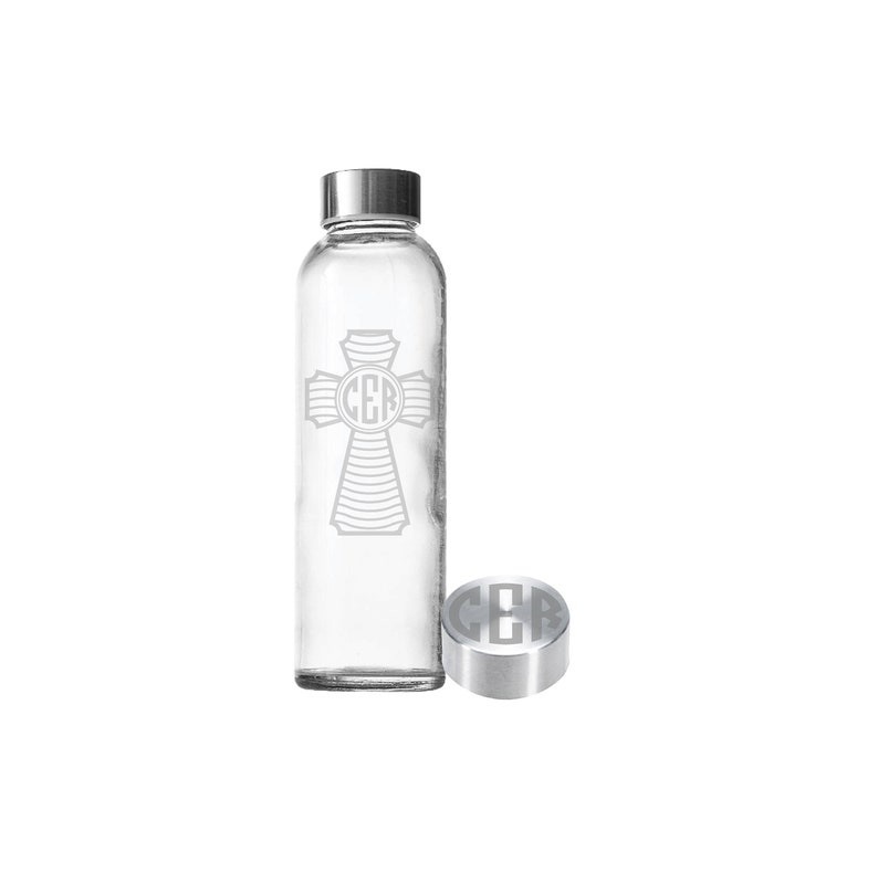 Etched 18oz Small Glass Bottle  Monogram Cross image 0
