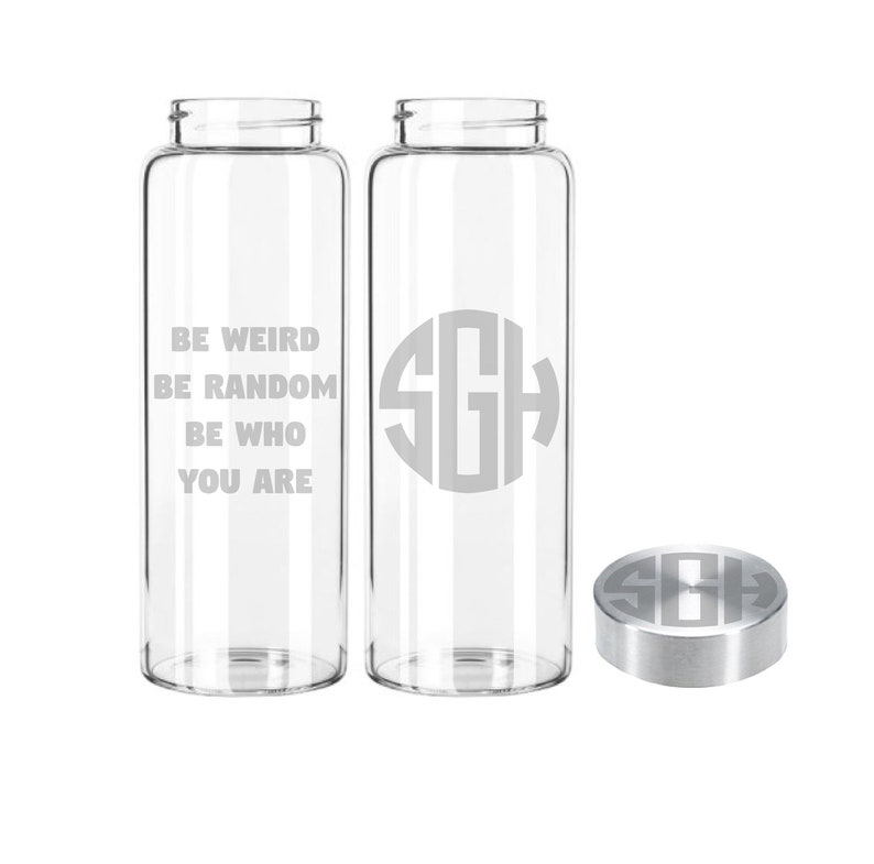 Etched 33oz Monogram Simple  Large Glass Bottle Monogram w/quote