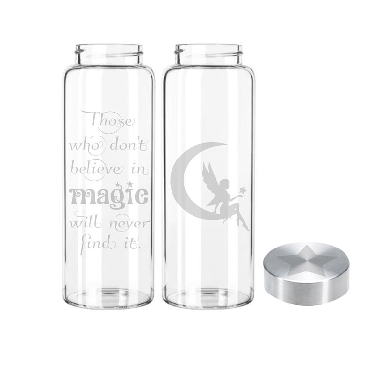 Etched 33oz Fairy  Large Glass Bottle Fairy w/quote onback