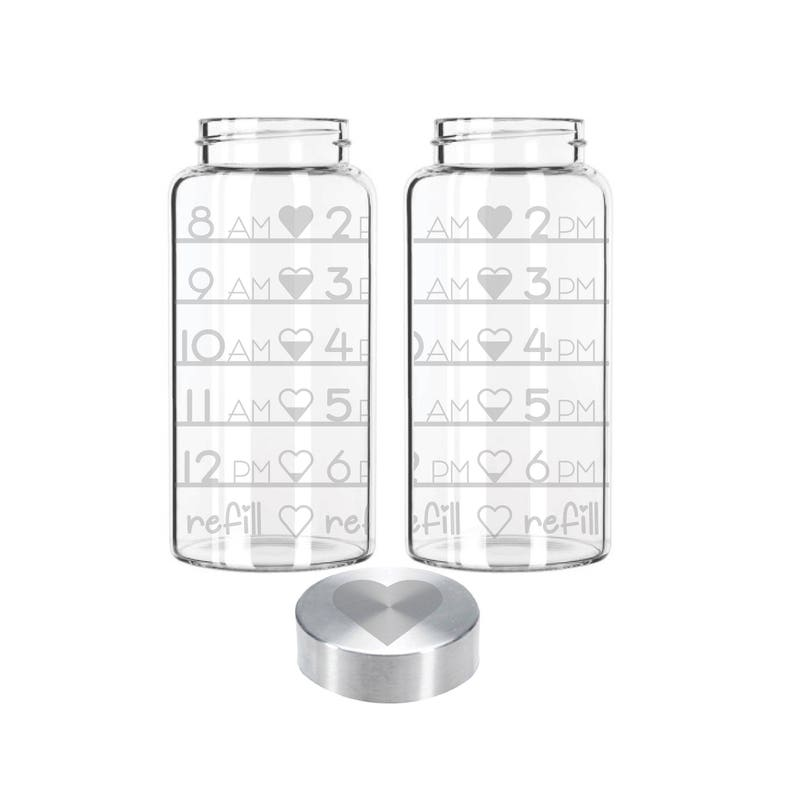 Etched 22oz Small Glass Bottle  Time Tracker with hearts & image 0