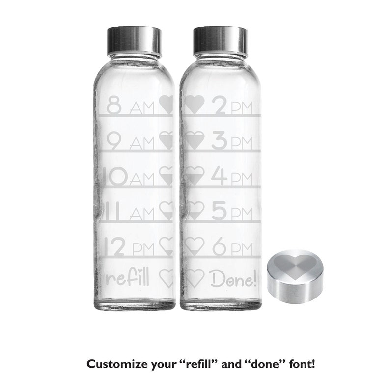 Etched 18oz Heart Time Tracker  Small Glass Bottle Time Tracker Only
