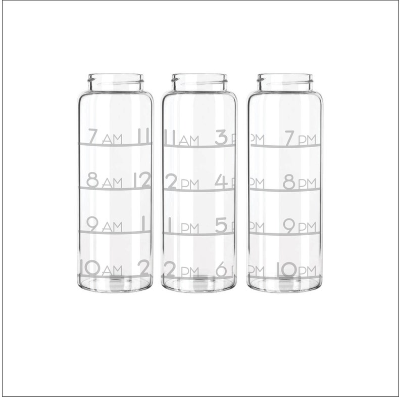 Etched 33oz Large Glass Bottle  All Day Time Tracker with image 0