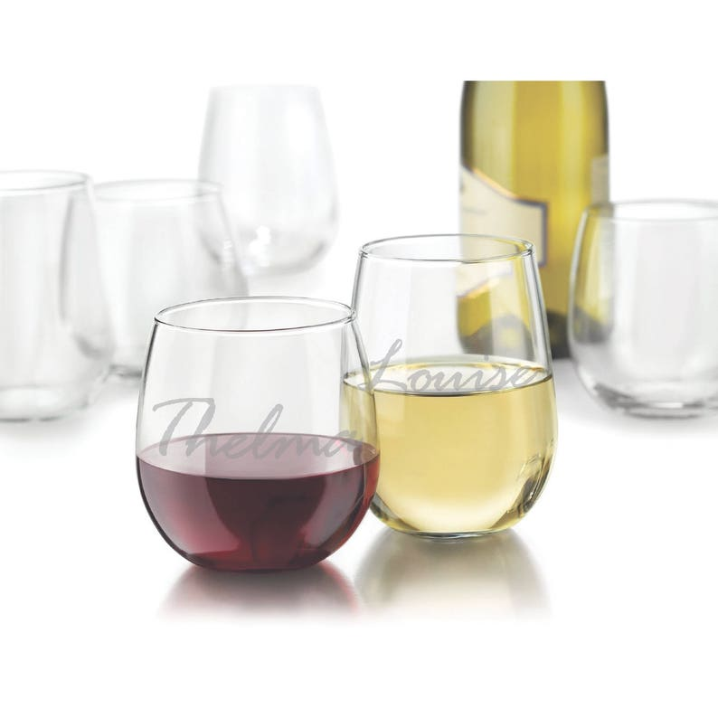 Two Etched Red or White Stemless Wine Glasses  Thelma & image 0
