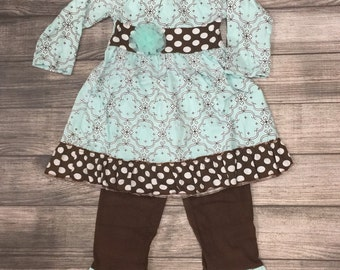 Girls teal and brown boutique outfit, ruffle clothing, toddler,  little girl, tunic stripe ruffle pants, fall outfit, Picture outfit