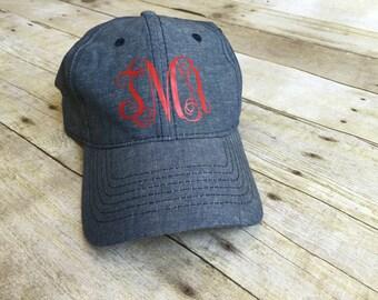 Chambray hat, personalized chambray hat, monogrammed cap, baseball cap