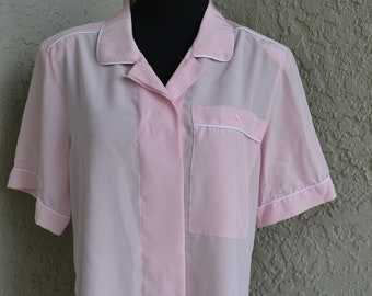 335446c8 Vintage Silky Pink Blouse with White Piping by REGINA PORTER Size 10
