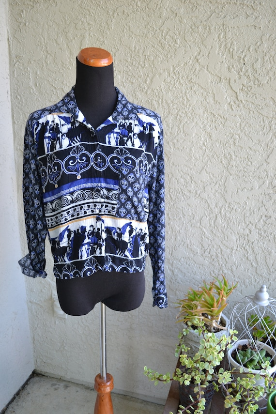 Vintage Black White and Blue Crop Top With Roman Theme Print by SANDRA INGRISH