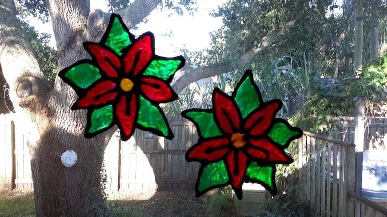 Poinsettia/'s Gallery Glass Window Clings For Christmas, 2